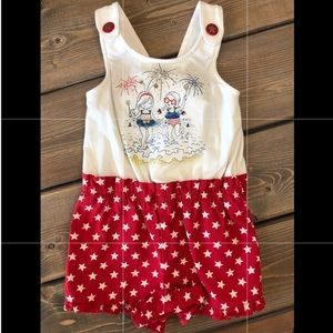 Girls button overall outfit